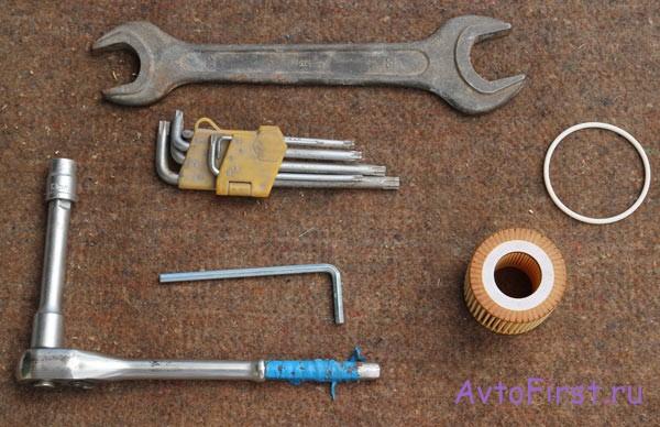 Инструменты для смены масла в машине