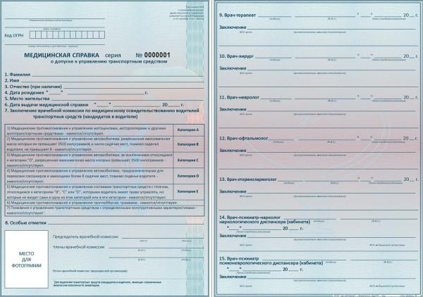 Образец бланка медицинской справки водителя 2014