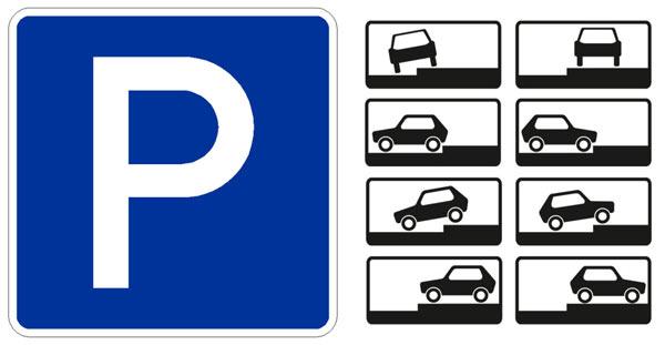 """Знак с буквой """"Р"""" указывает, что парковка разрешена. Необходимо также обращать внимание на то, каким образом можно парковаться на тротуаре"""