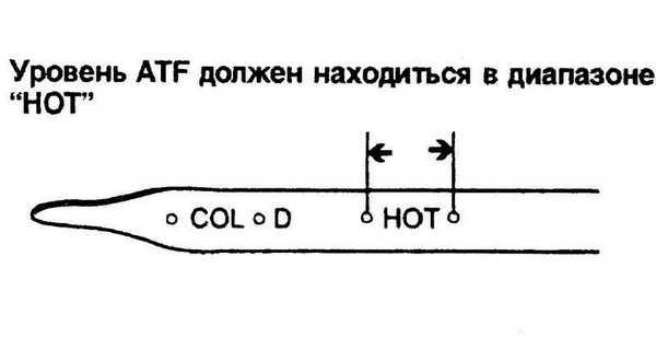 Уровень масла проверяется для горячего (HOT) и холодного (COLD)  состояния