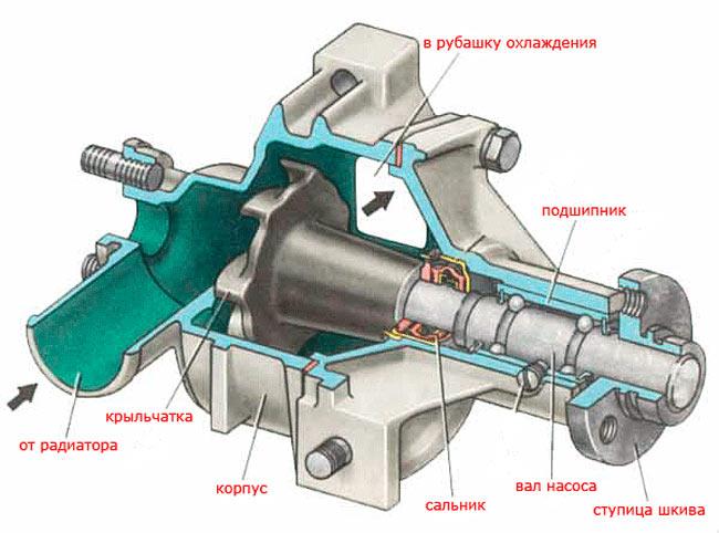 Устройство водяной помпы системы охлаждения двигателя