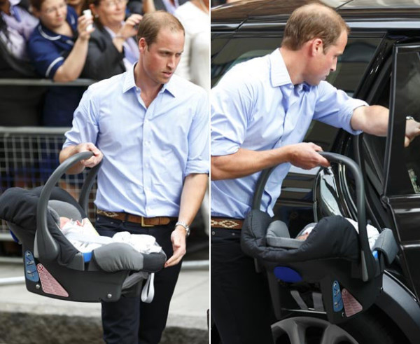 Принц Вильям переносит сына в специальном устройстве, которое одновременно является люлькой и детским сидением