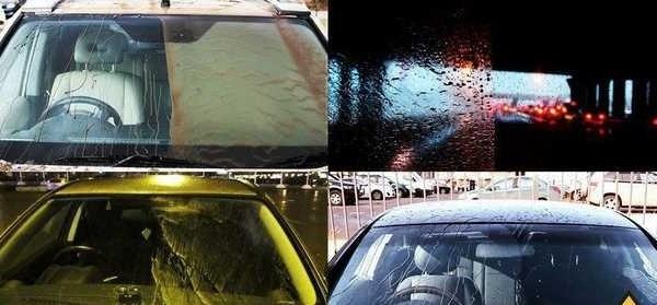Обработка лобового стекла антидождь улучшает видимость в непогоду