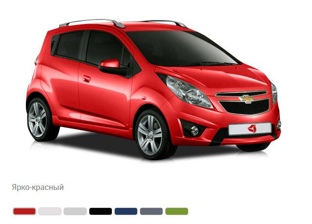 Цвета кузова Chevrolet Spark