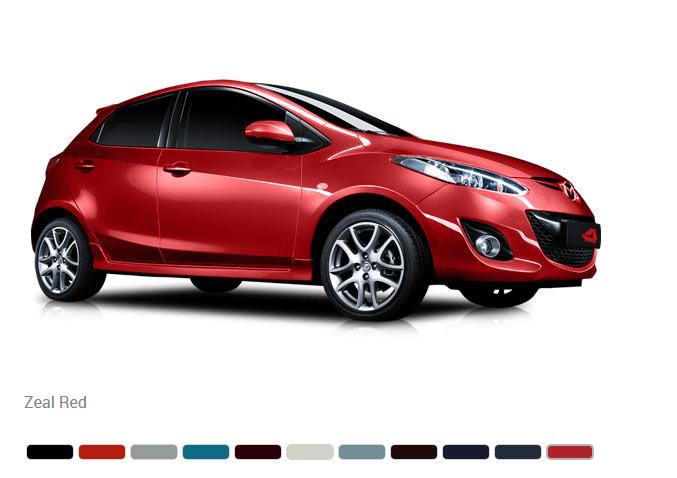 Доступны 11 цветов кузова Mazda 2